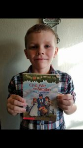 "Kelin, age 9 ""Magic Tree House #21, by Mary Pope Osborne, because it's about the Civil War, and the characters go back in time.  But I love reading all the Magic Tree House books!"""