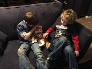boys with cat